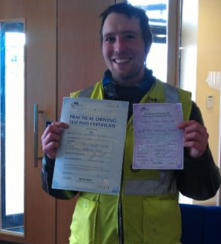 Paul Sloan passed first time with just 2 days of training with our instructor Sue