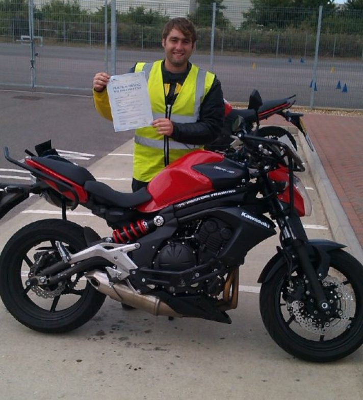 Adam passed mod one and two at his first attempt and off to insure his green Ninja !