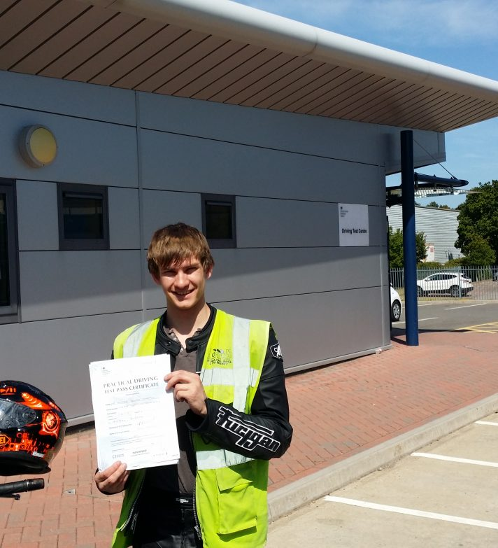 Well done Oliver who passed first time today and was going to Alfs to collect his new ER6f.
