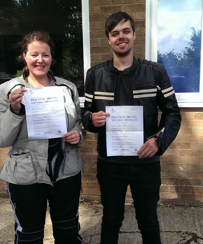Clare and James happy students on passing today