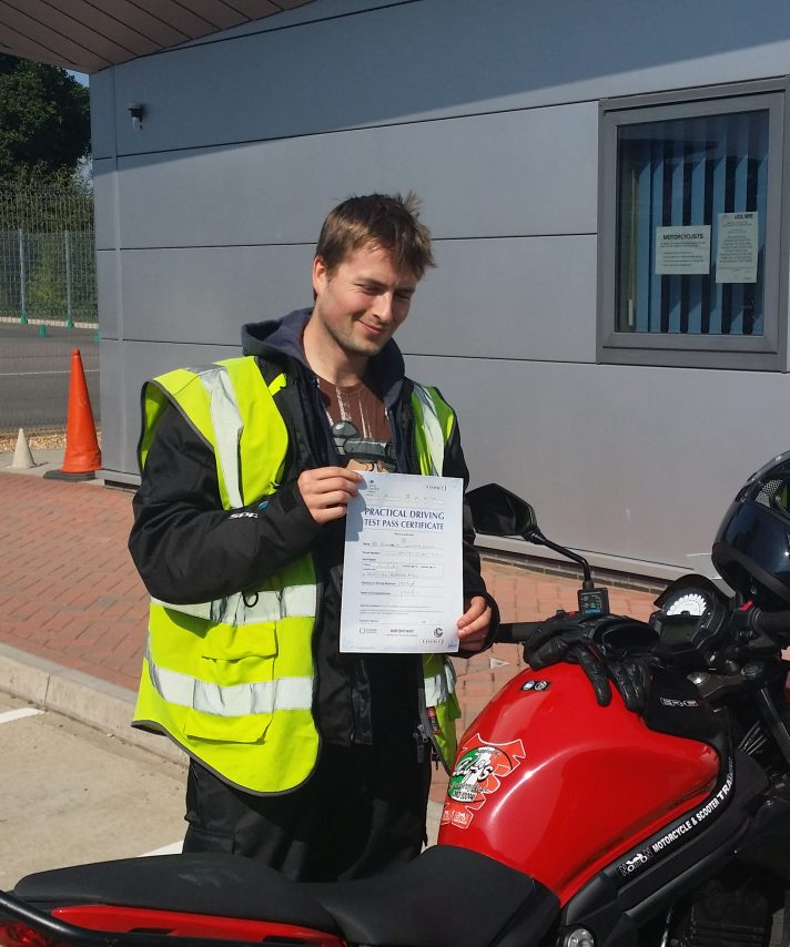 Alex passed first time today and is off home to finalise the rebuild of a CBR600 he has been doing with his Father over the last few months.