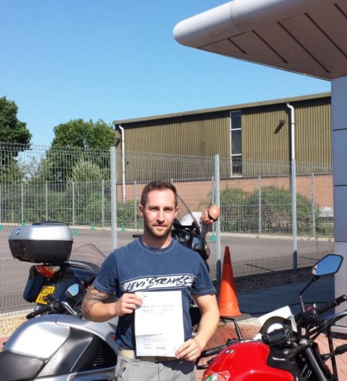 Well done to Russ who passed first time today.  He has a Honda NC30 400 V4 awaiting him in his garage and a  fine bike it is.