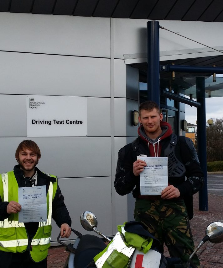 Good friends Anthony and Connor both passed first time with just 1 minor fault in total –  well done. A DRZ and a Ducati Scrambler seem to be on the agenda.